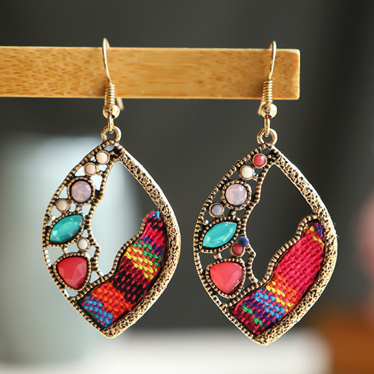 Metal Leaf Shape Multi Color Earrings