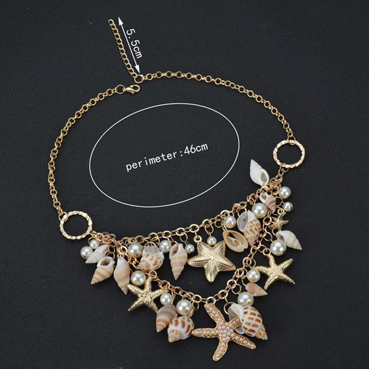 Faux Pearl Starfish Shape Metal Whilte Necklace