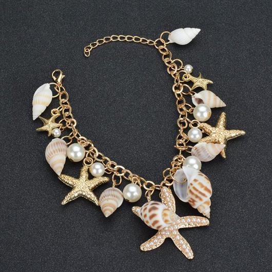 Starfish Shape Faux Pearl Metal White Bracelet