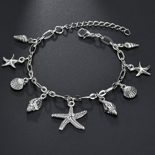 Metal Starfish Shape Silver Anklet