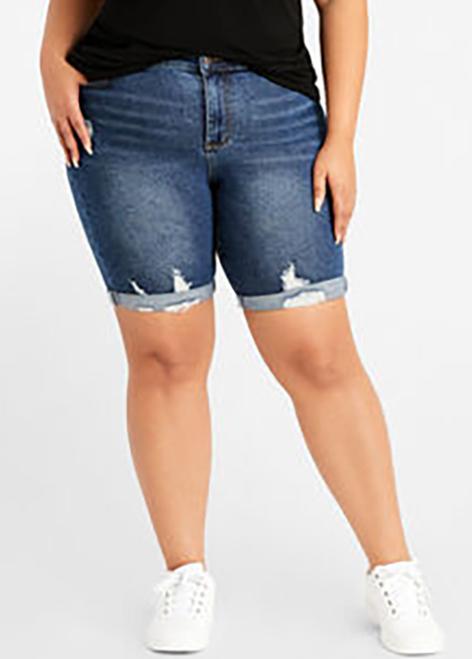Denim Blue Shredded Plus Size Shorts