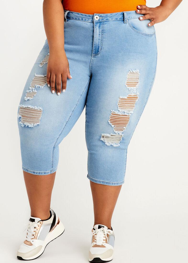 Denim Blue Plus Size Shredded Pants