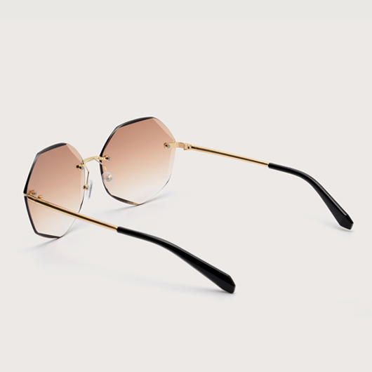 Khaki Rimless Design Metal Detail Sunglasses