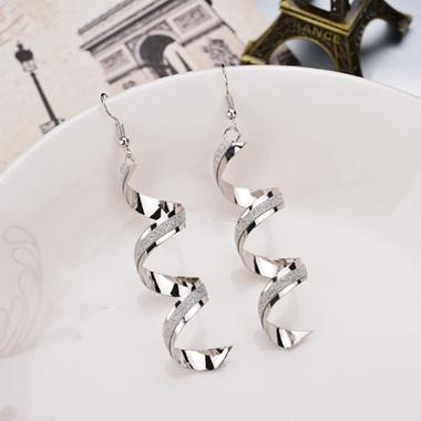 Crystal Detail Spiral Design Silver Earring Set