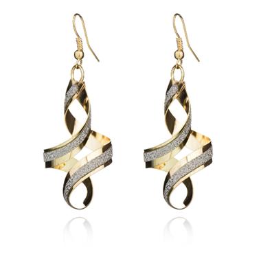 Gold Spiral Design Crystal Detail Earring Set