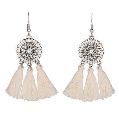 1 Pair Tassel Design Rhinestone Earrings