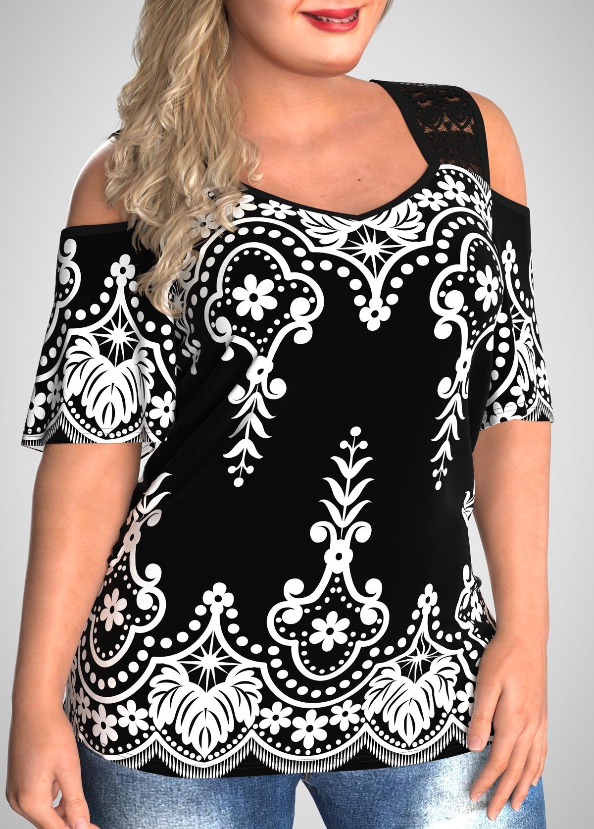 Tribal Print Plus Size Lace Stitching T Shirt