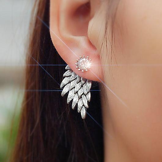 Silver Rhinestone Detail Wings Design Earring Set