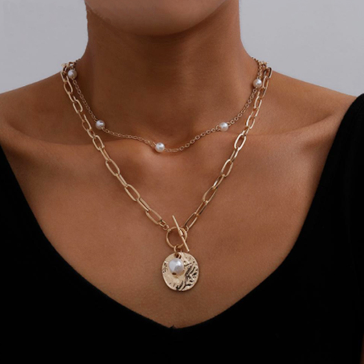 Metal Chain Design Pearl Detail Necklaces