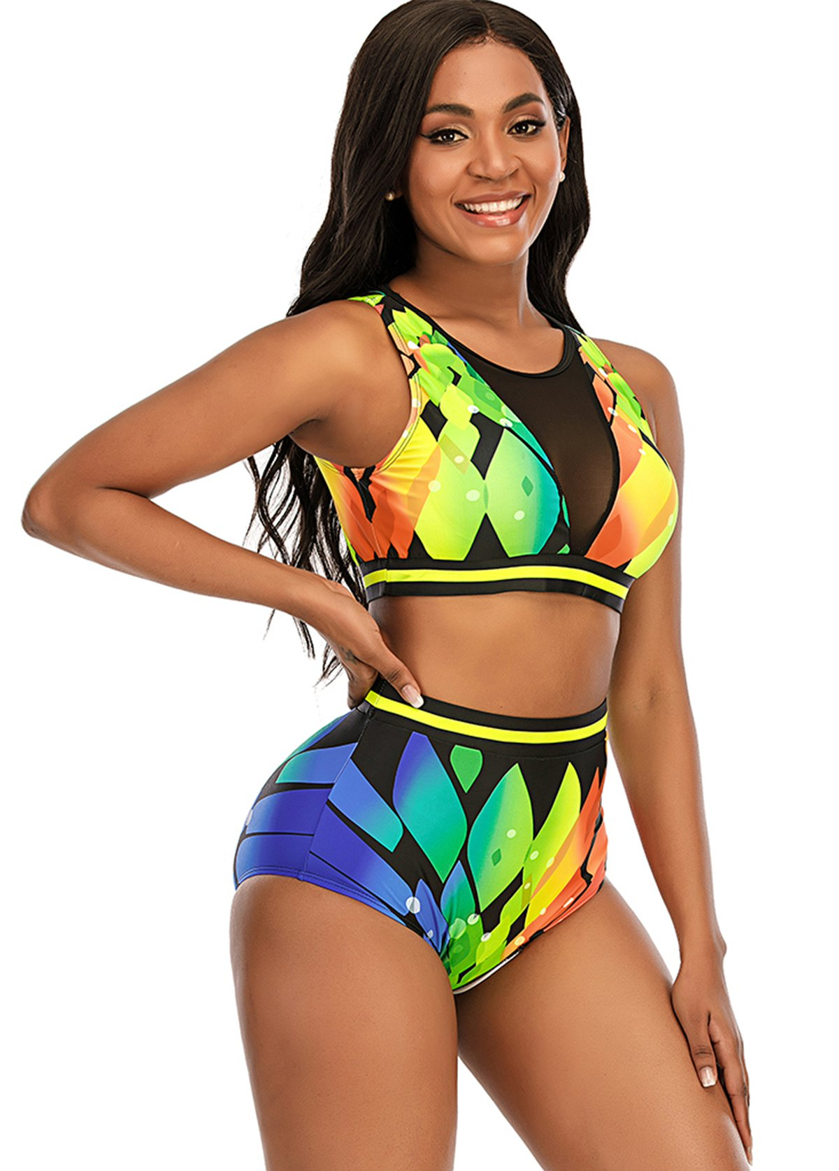 Printed High Waist Mesh Stitching Bikini Set