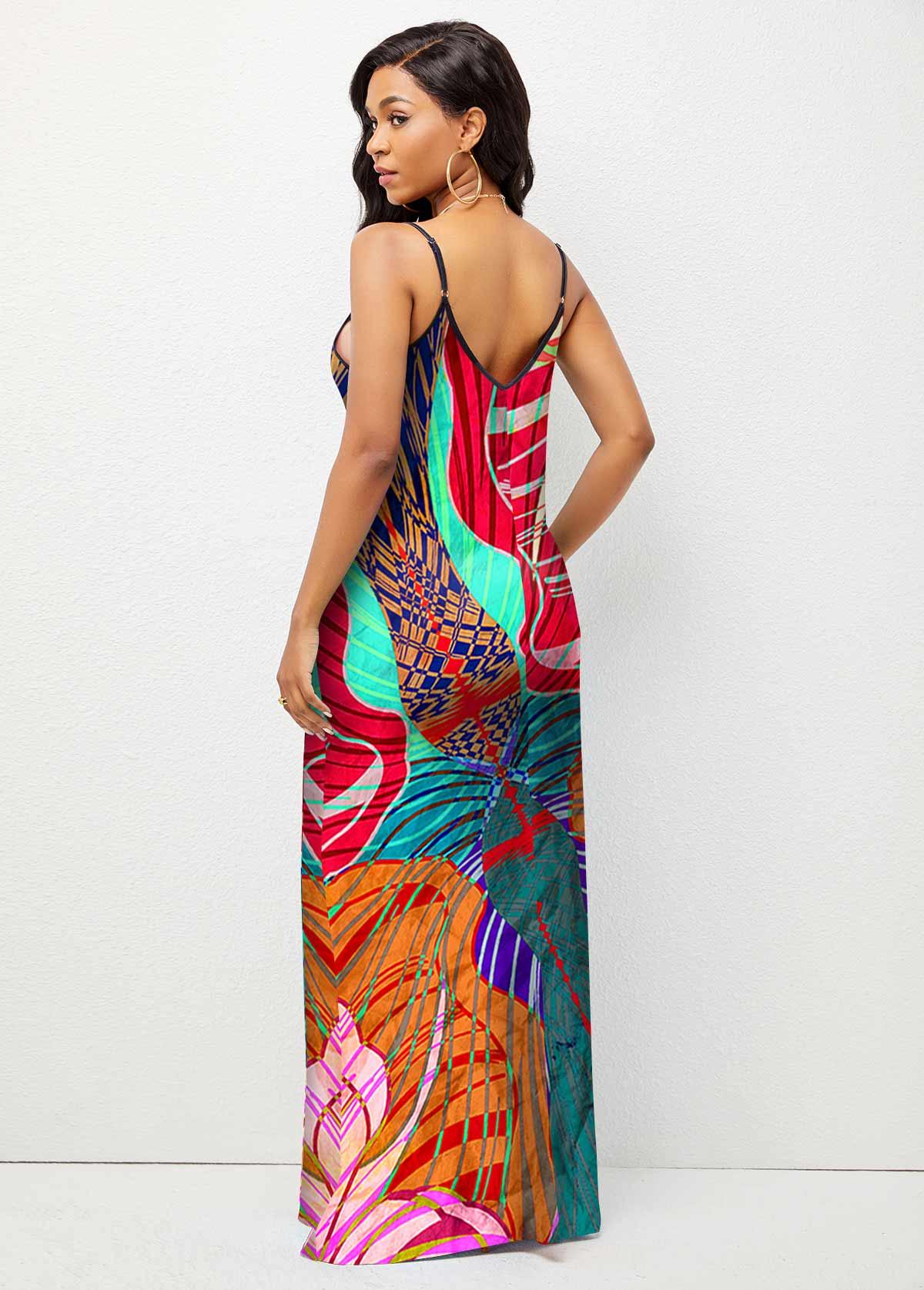 Abstract Print Spaghetti Strap Maxi Dress