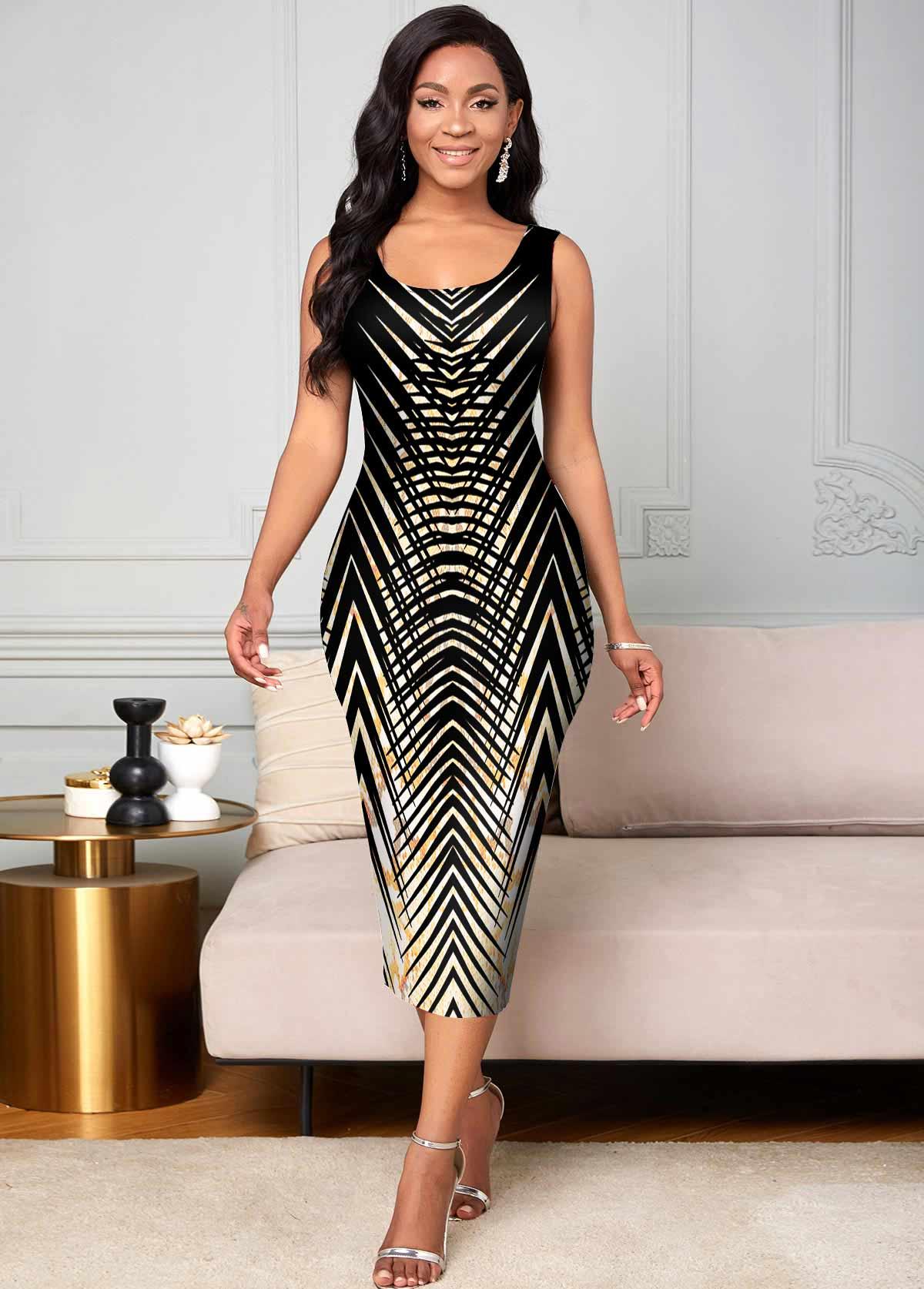 Sleeveless Animal Prints Round Neck Dress