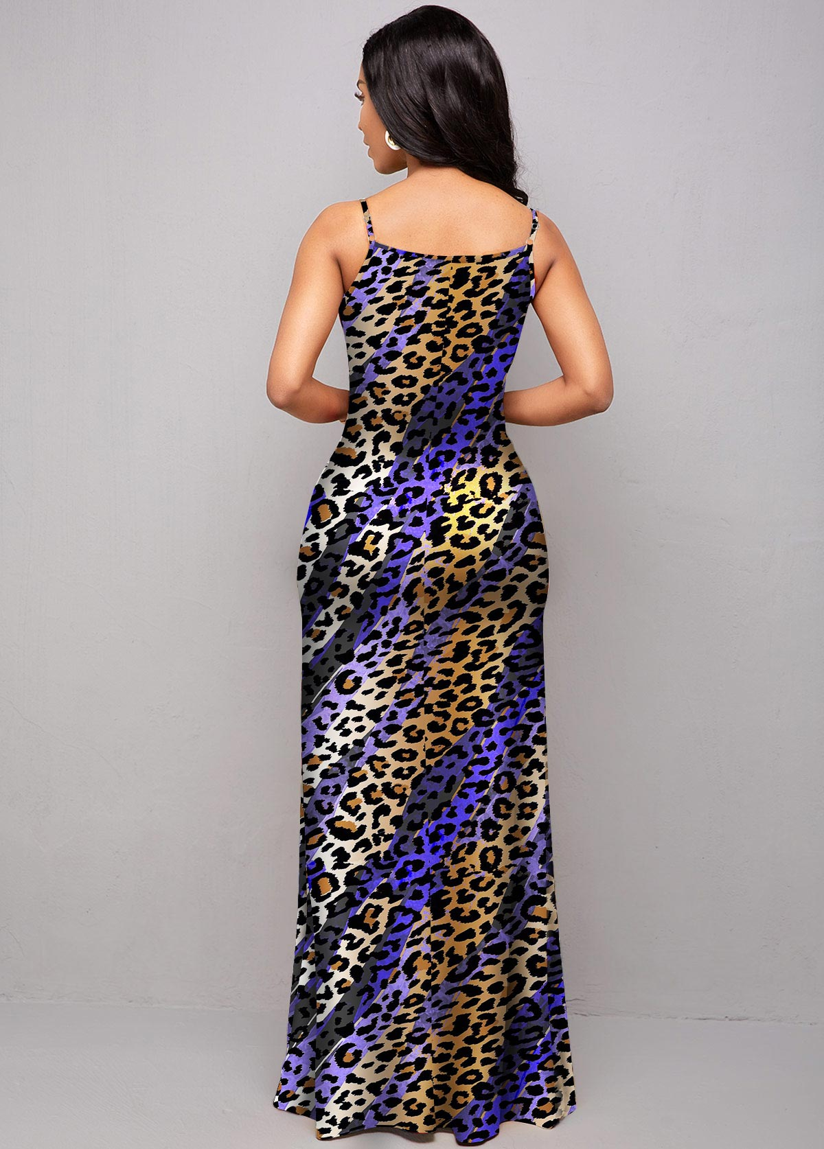 Animal Prints Spaghetti Strap Ombre Dress