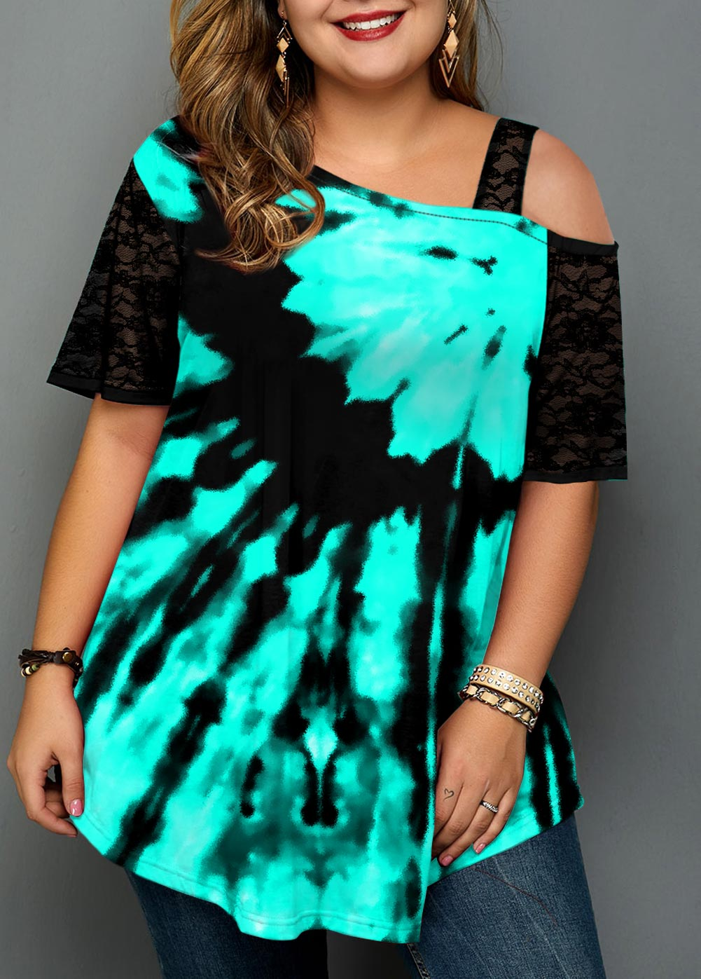 Plus Size Lace Stitching Tie Dye Print T Shirt