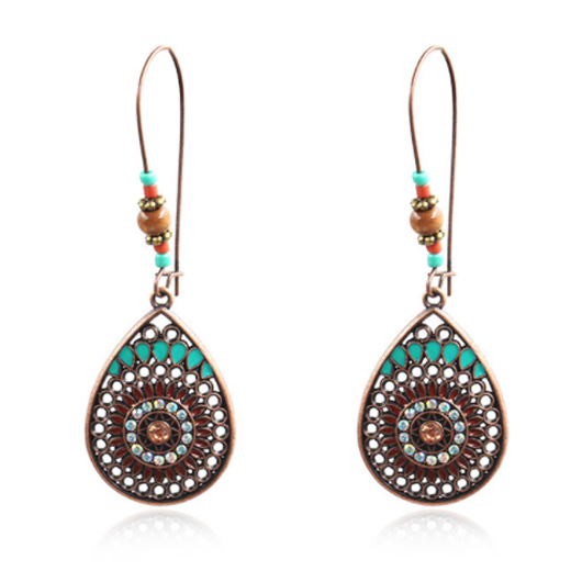 1 Pair Water Drop Design Metal Detail Earrings