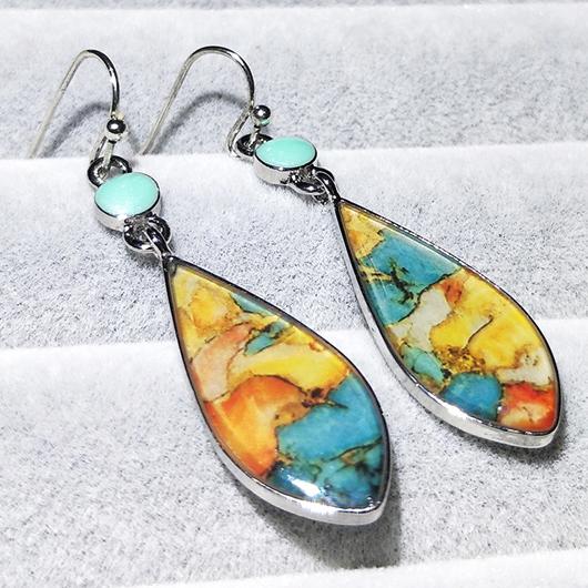 Metal Detail Retro Colorful Earring Set