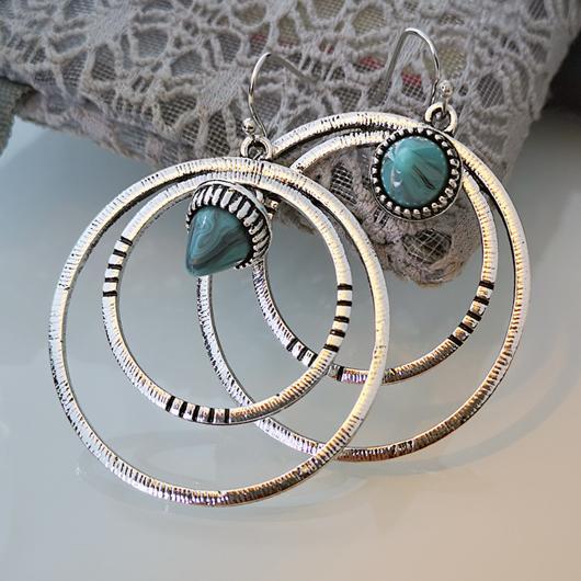 Circular Design Metal Detail Turquoise Earrings