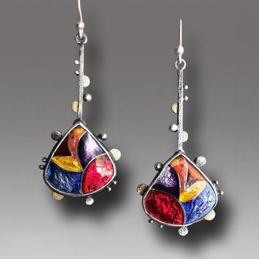 1 Pair Colorful Metal Detail Bohemian Earrings