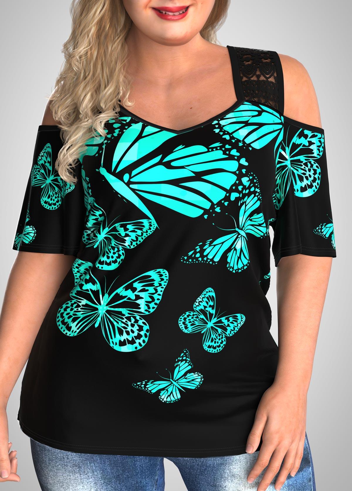 Butterfly Print Plus Size Cold Shoulder T Shirt