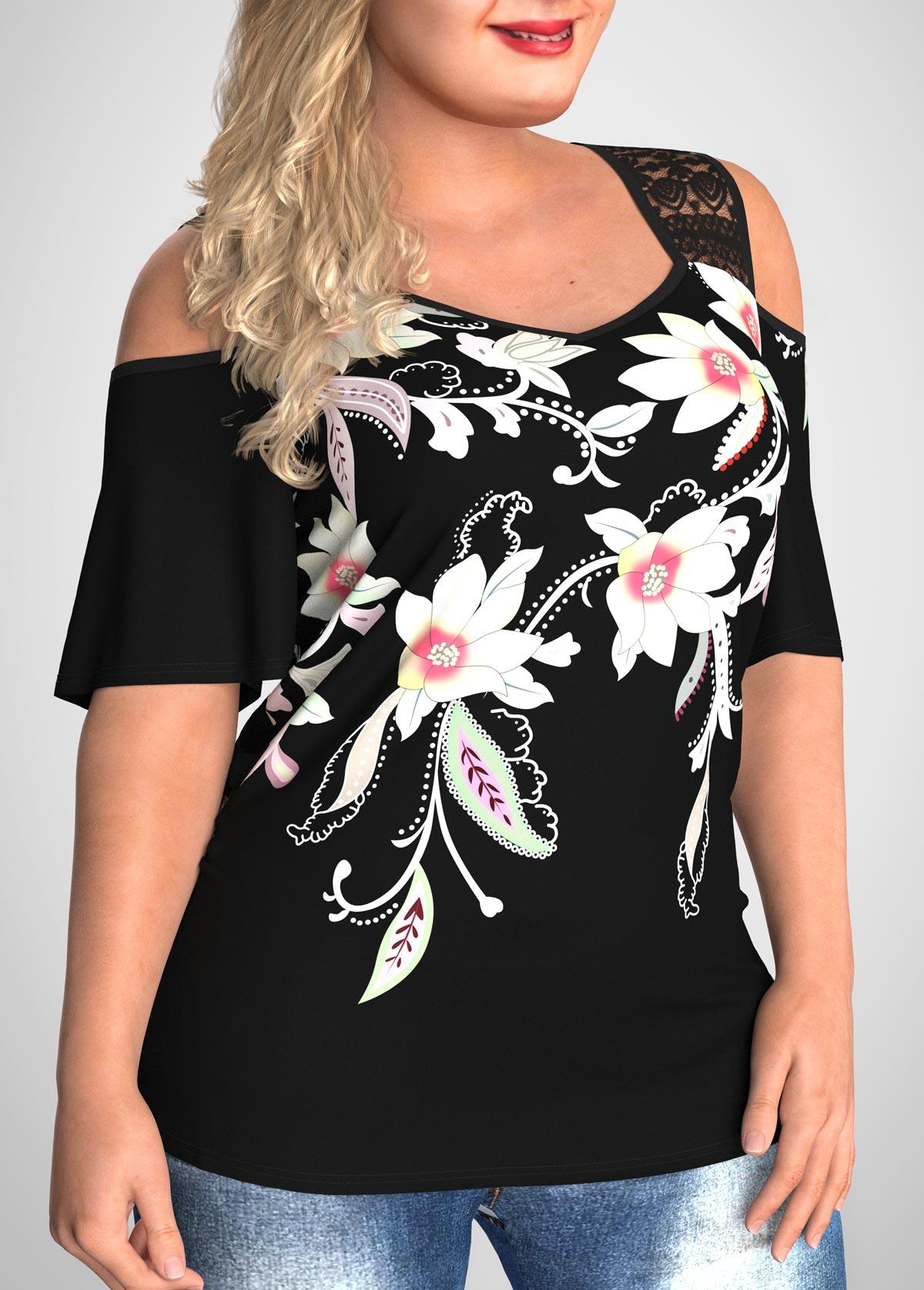 Plus Size Cold Shoulder Floral Print T Shirt