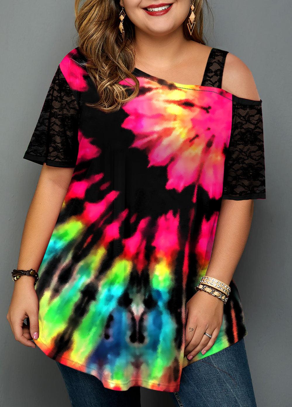 Cold Shoulder Plus Size Tie Dye Print T Shirt