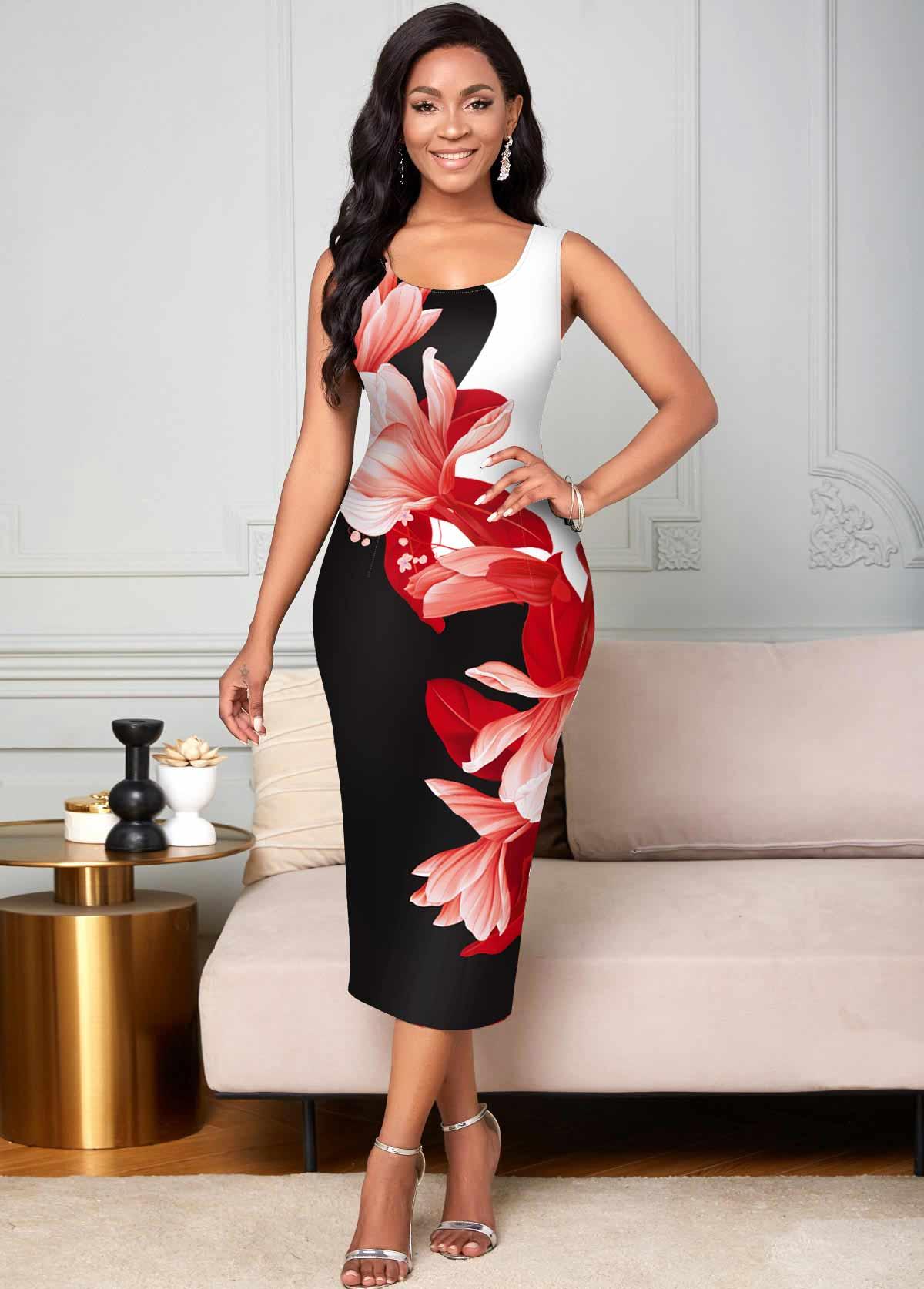 Round Neck Floral Print Wide Strap Bodycon Dress