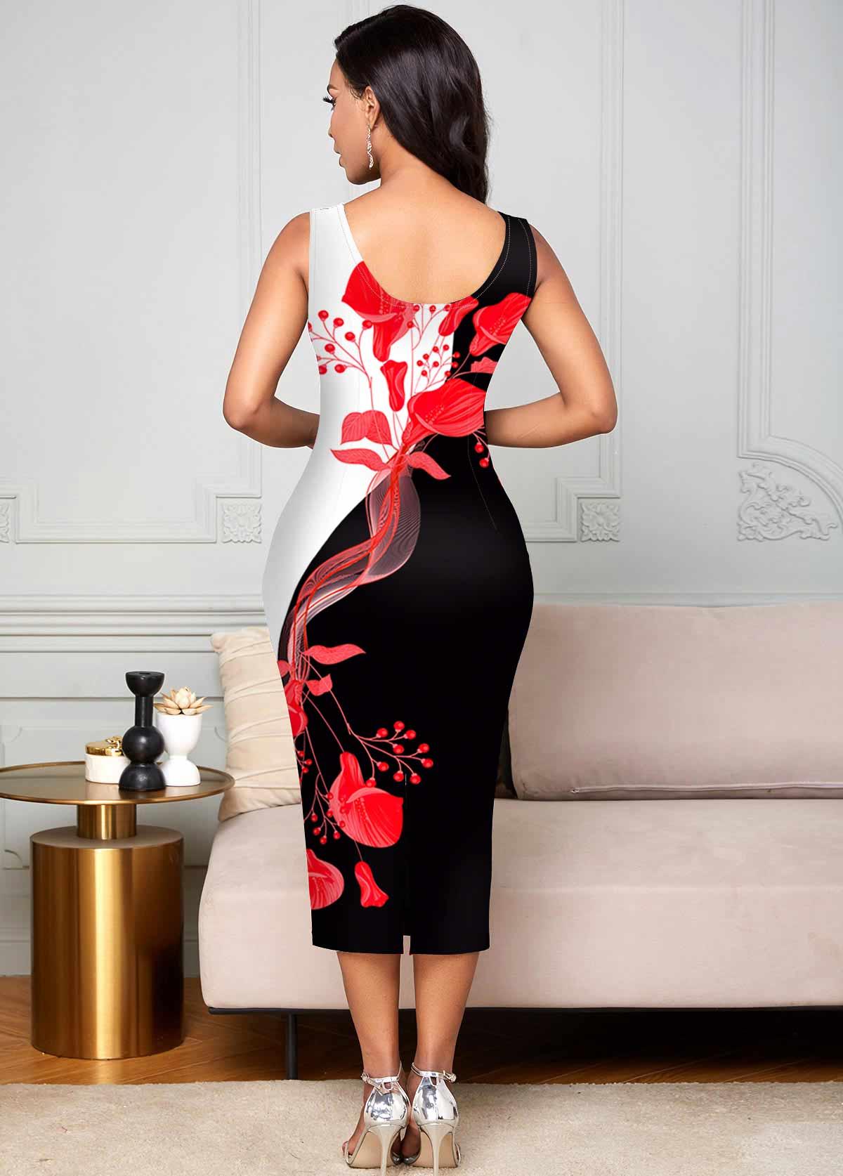 Sleeveless Floral Print Contrast Bodycon Dress