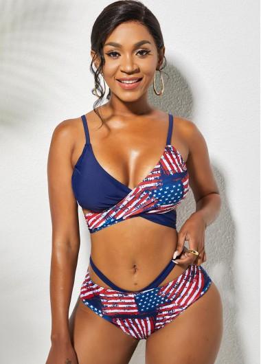 Rosewe American Flag Print Cross Tie Back Bikini Set - L