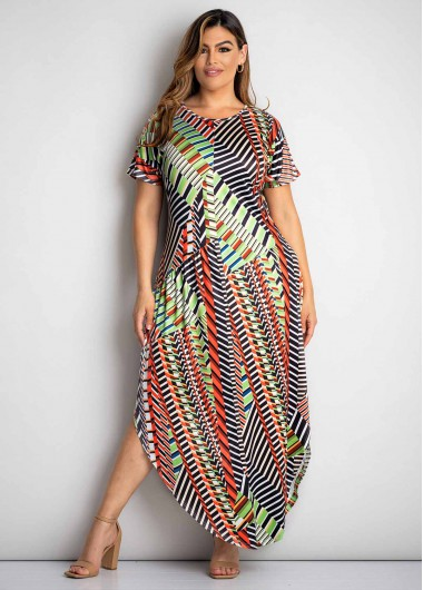 Short Sleeve Plus Size Multi Color Dress