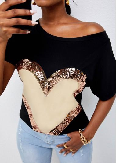 Round Neck Sequin Heart Print T Shirt