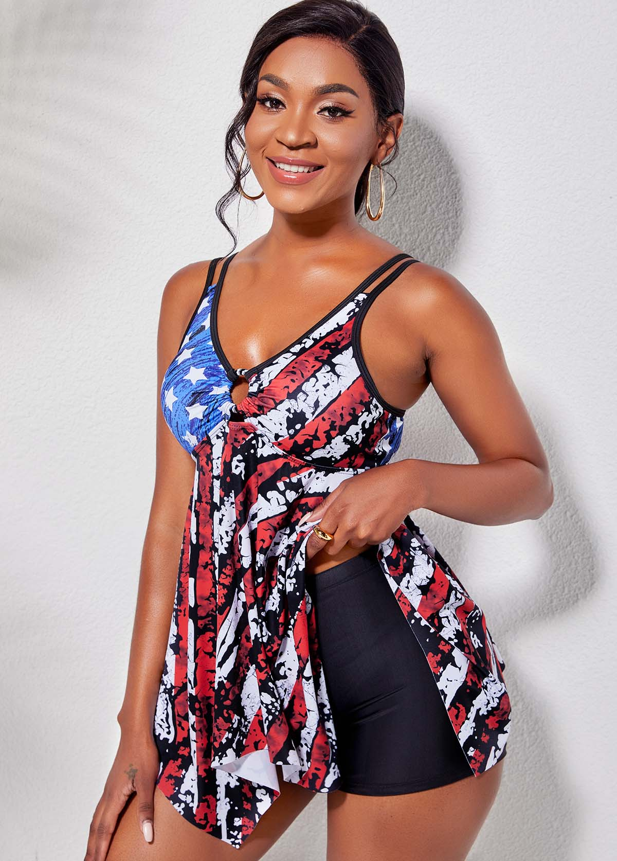 Double Strap American Flag Print Swimdress and Shorts