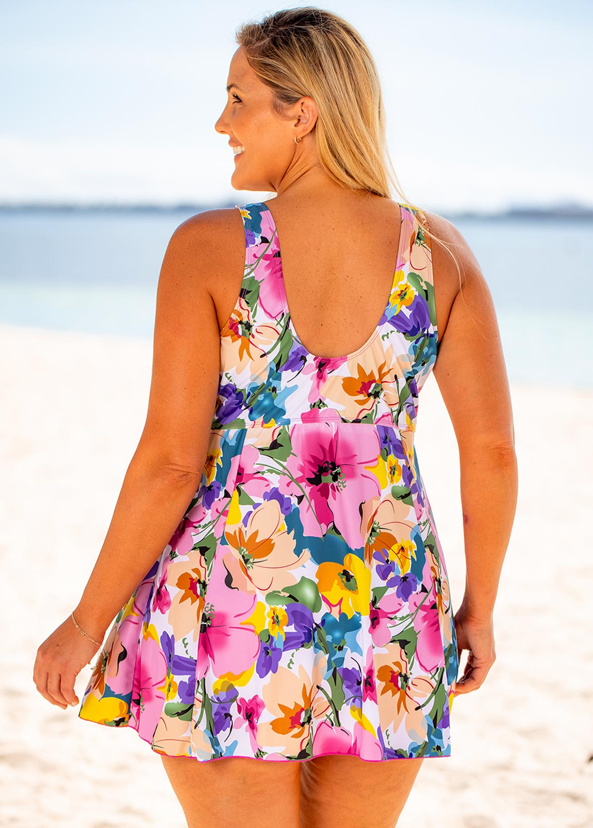 Bowknot Plus Size Floral Print Swimdress and Shorts