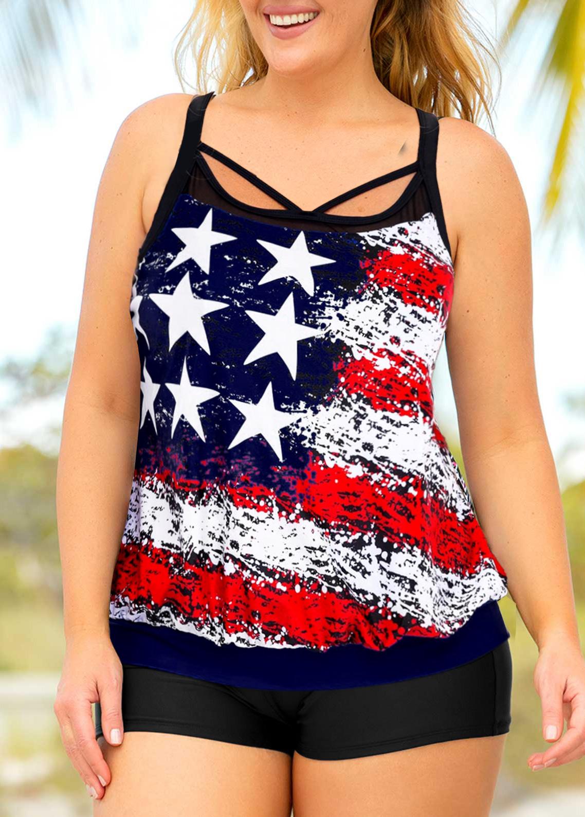 Plus Size American Flag Print Cross Strap TankinI Set