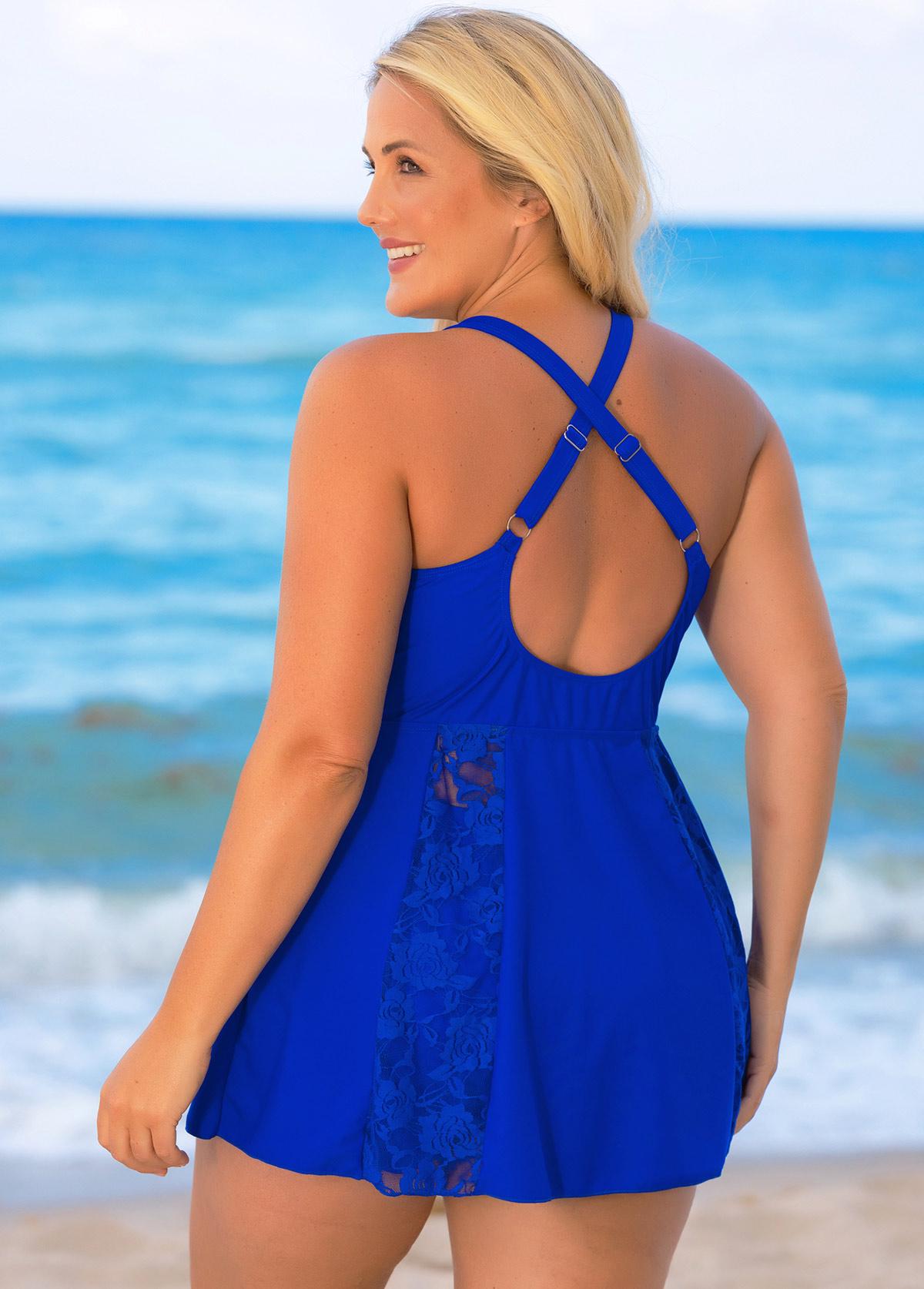 Cross Strap Plus Size Lace Stitching Swimdress and Shorts