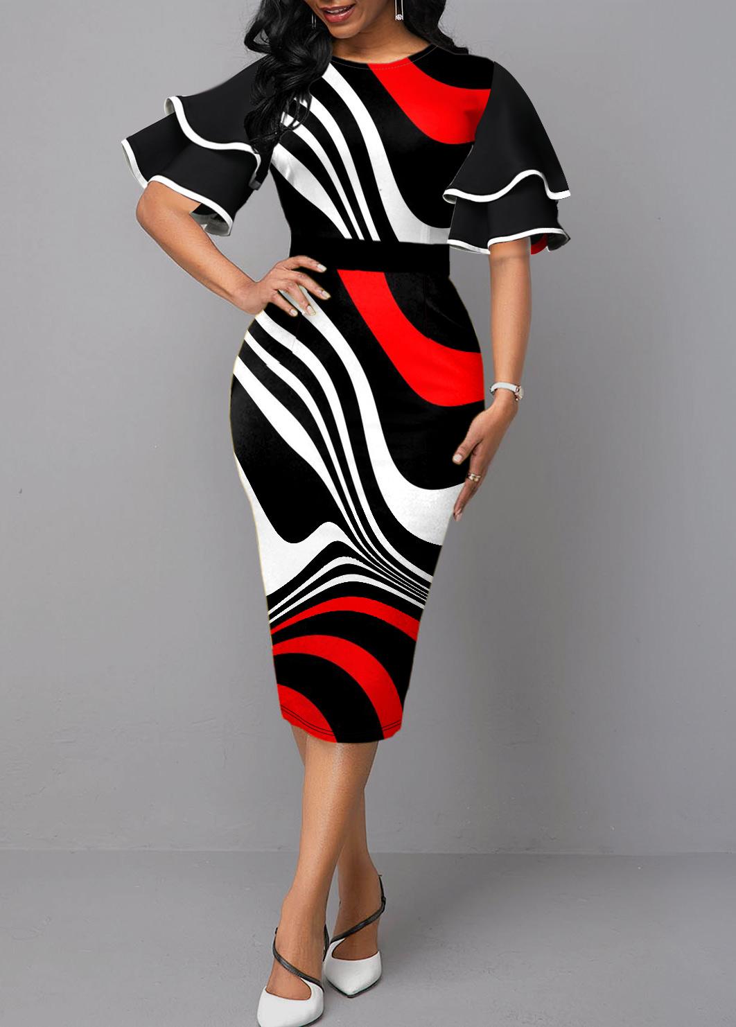 Contrast Plus Size Double Ruffle Sleeve Dress