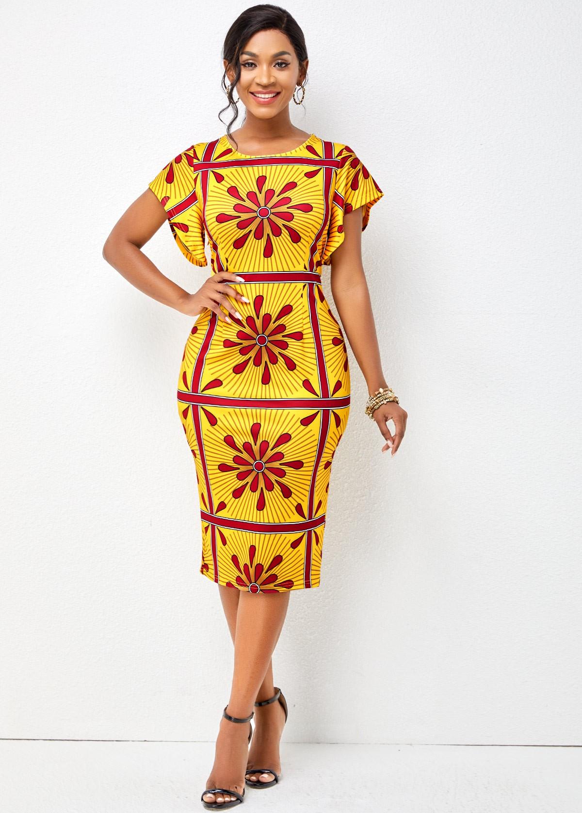 Tribal Print Butterfly Sleeve Bodycon Dress