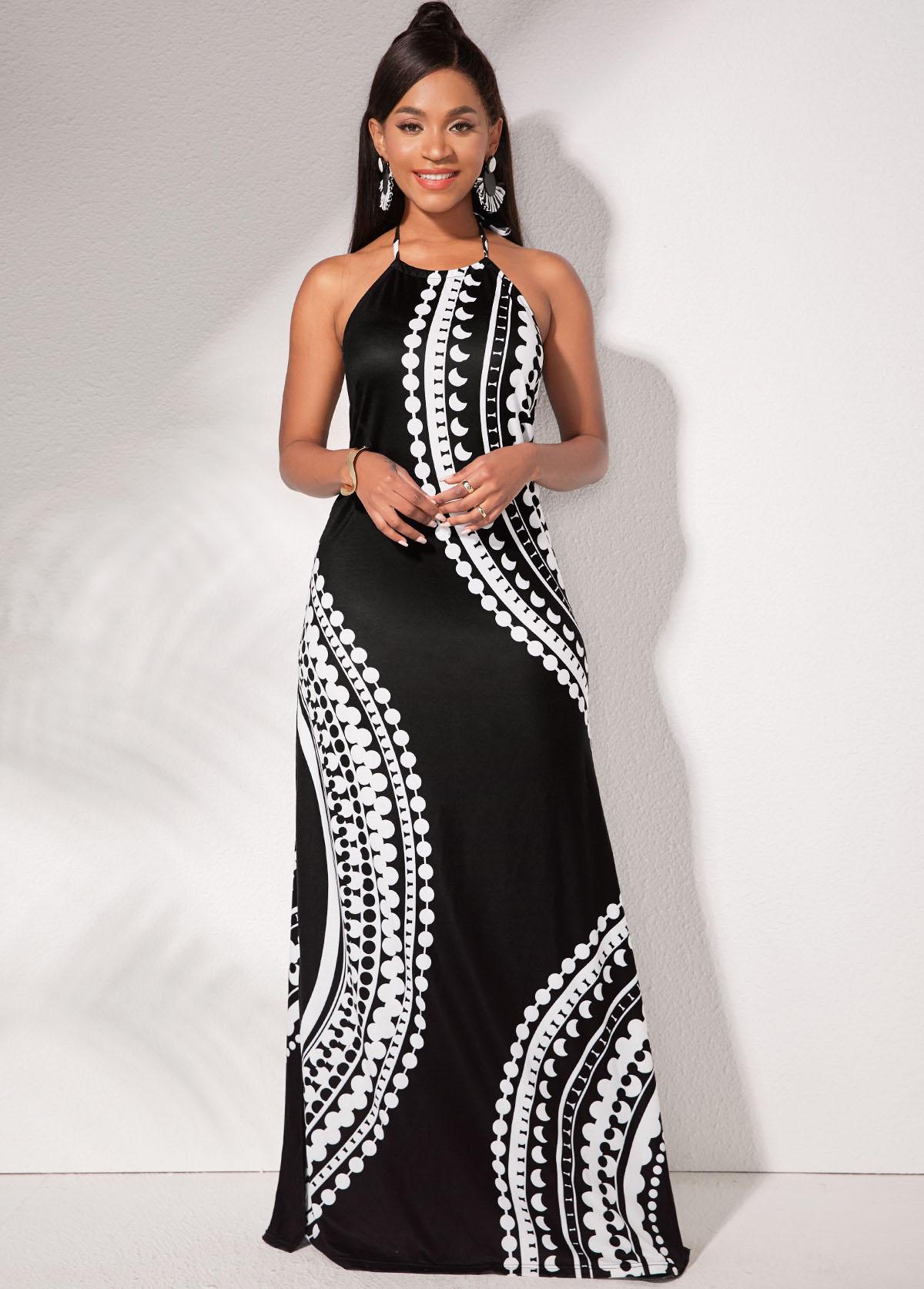 Halter Side Slit Tribal Print Dress