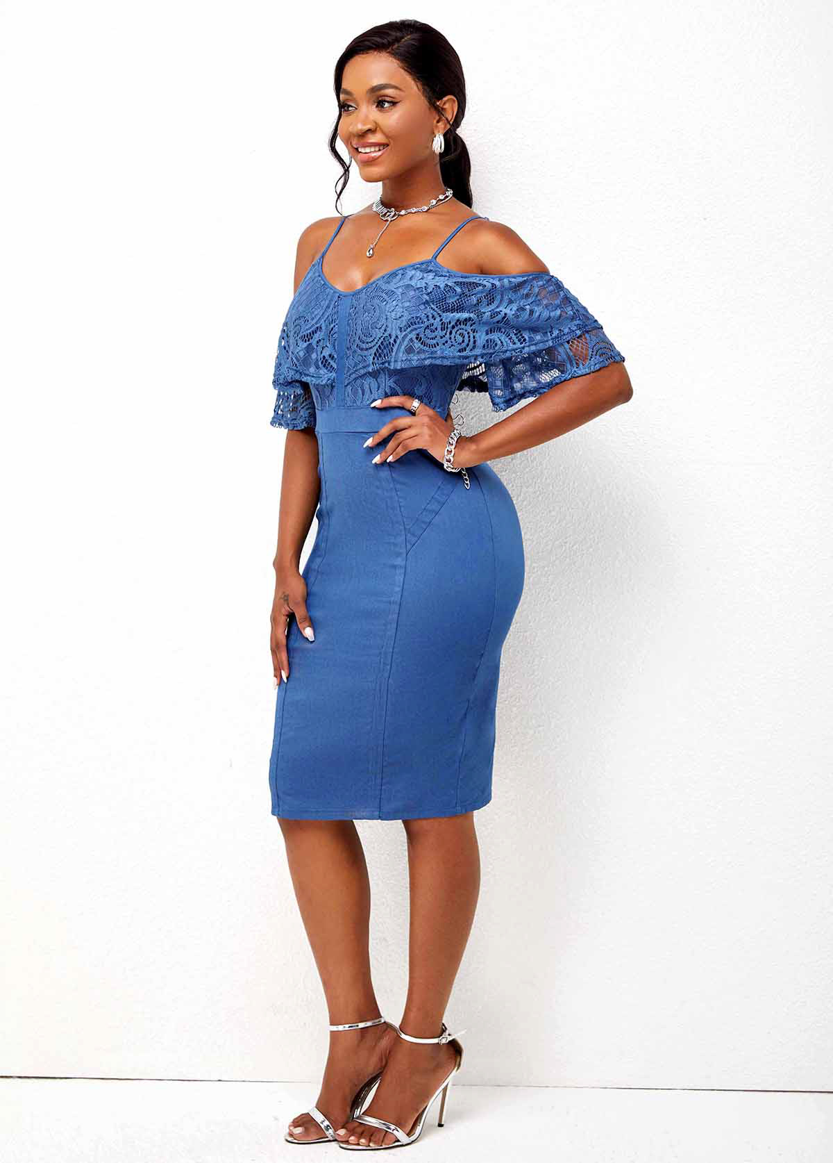 Strappy Cold Shoulder Lace Panel Bodycon Dress