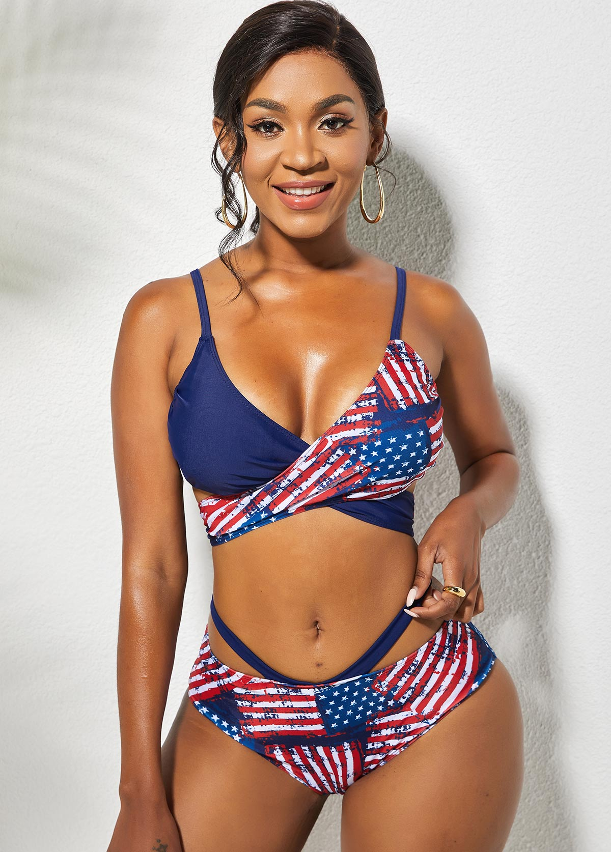 American Flag Print Cross Tie Back Bikini Set