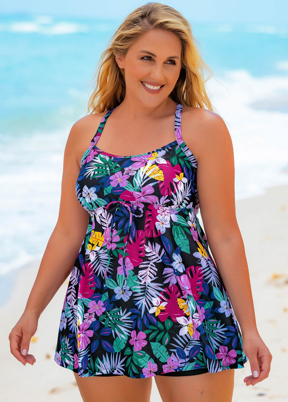 Criss Cross Back Plus Size Floral Print Swimdress and Shorts
