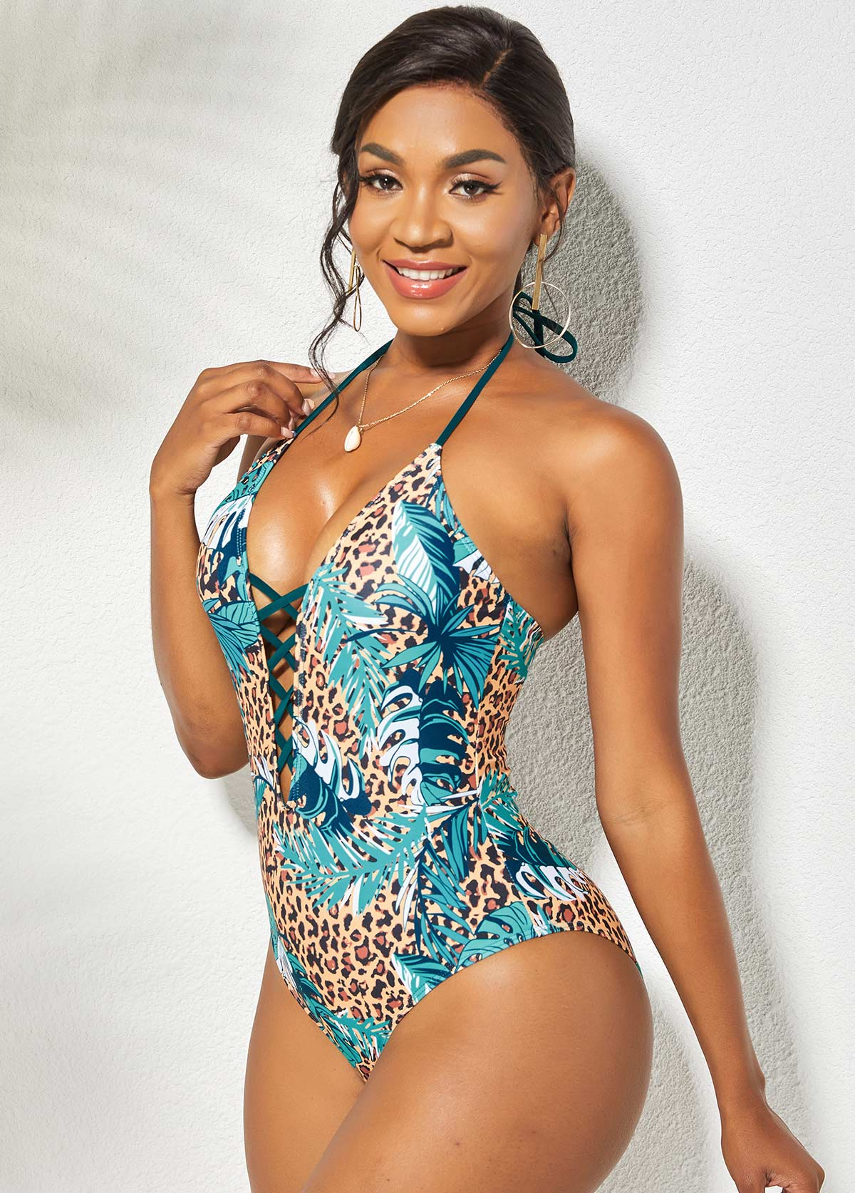 Halter Leopard Lace Up One Piece Swimwear