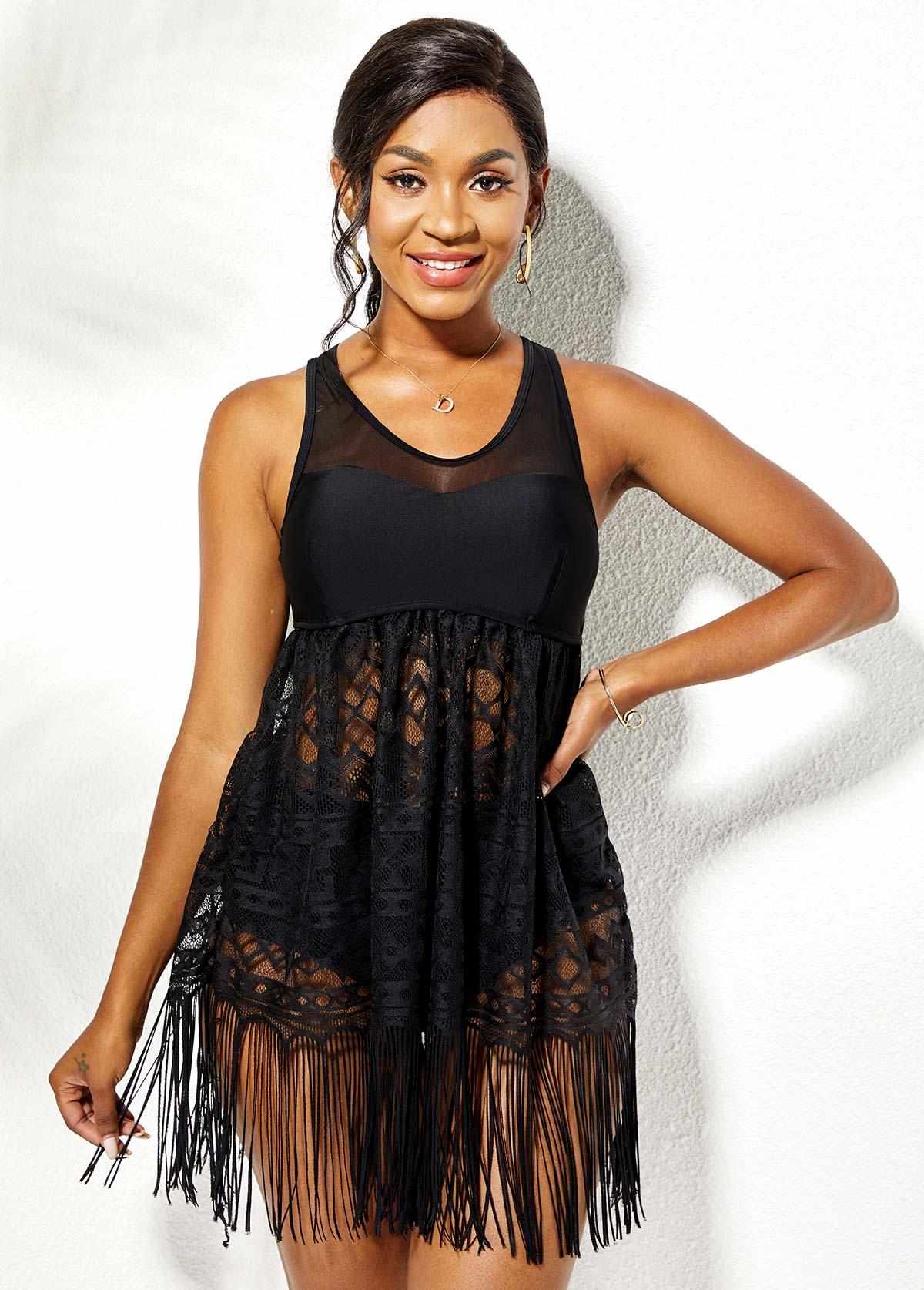 Lace Stitching Black Tassel Swimdress and Panty