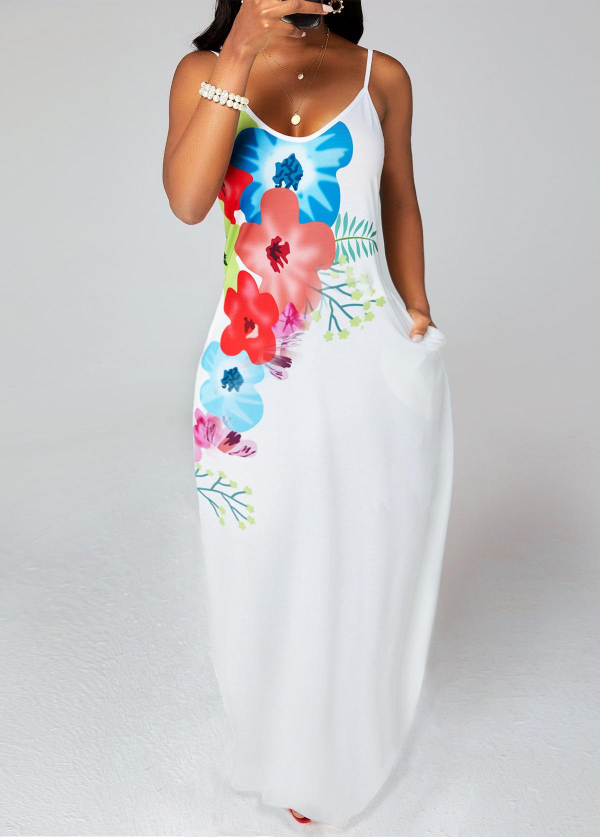 Pocket Spaghetti Strap Floral Print Dress