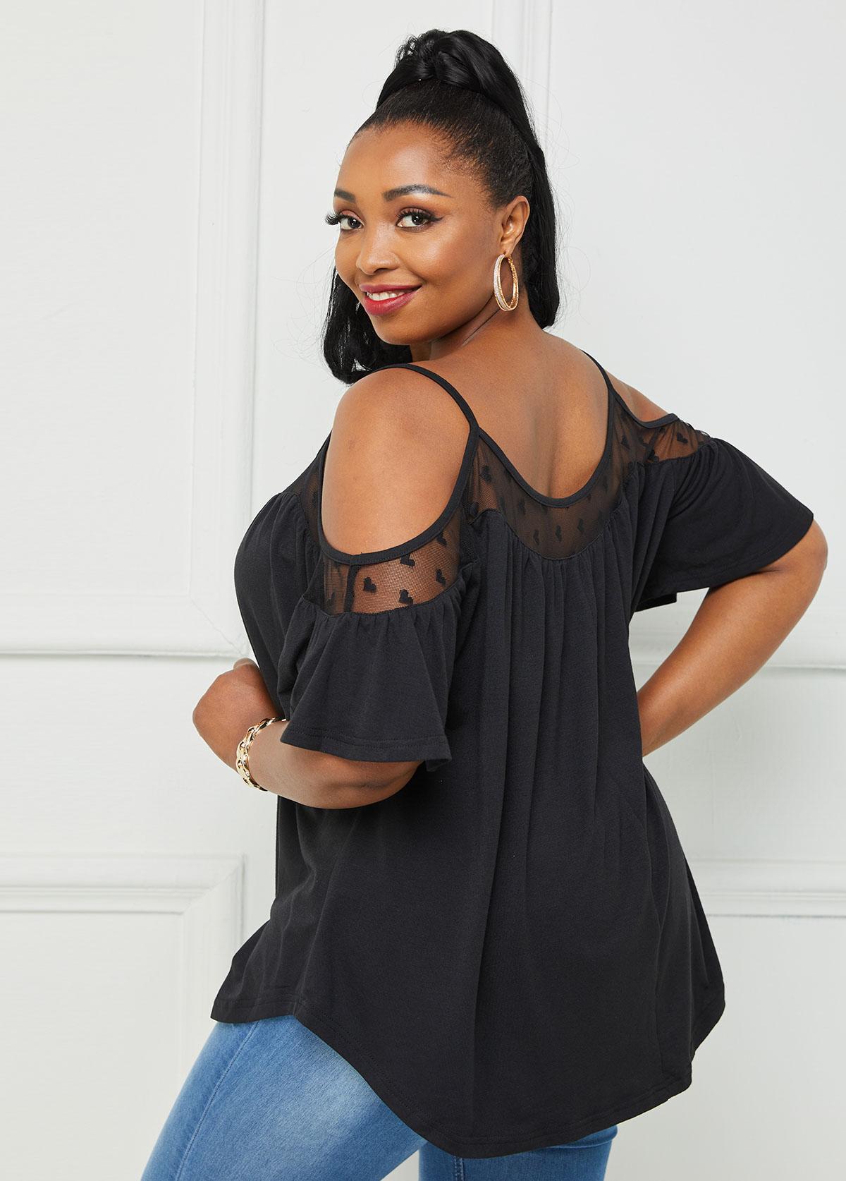 Lace Stitching Plus Size Cold Shoulder T Shirt