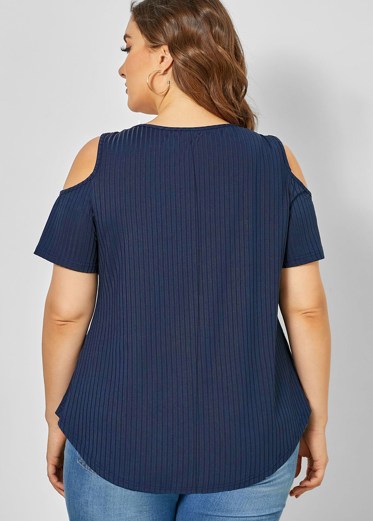 Cold Shoulder Plus Size Quarter Zip T Shirt