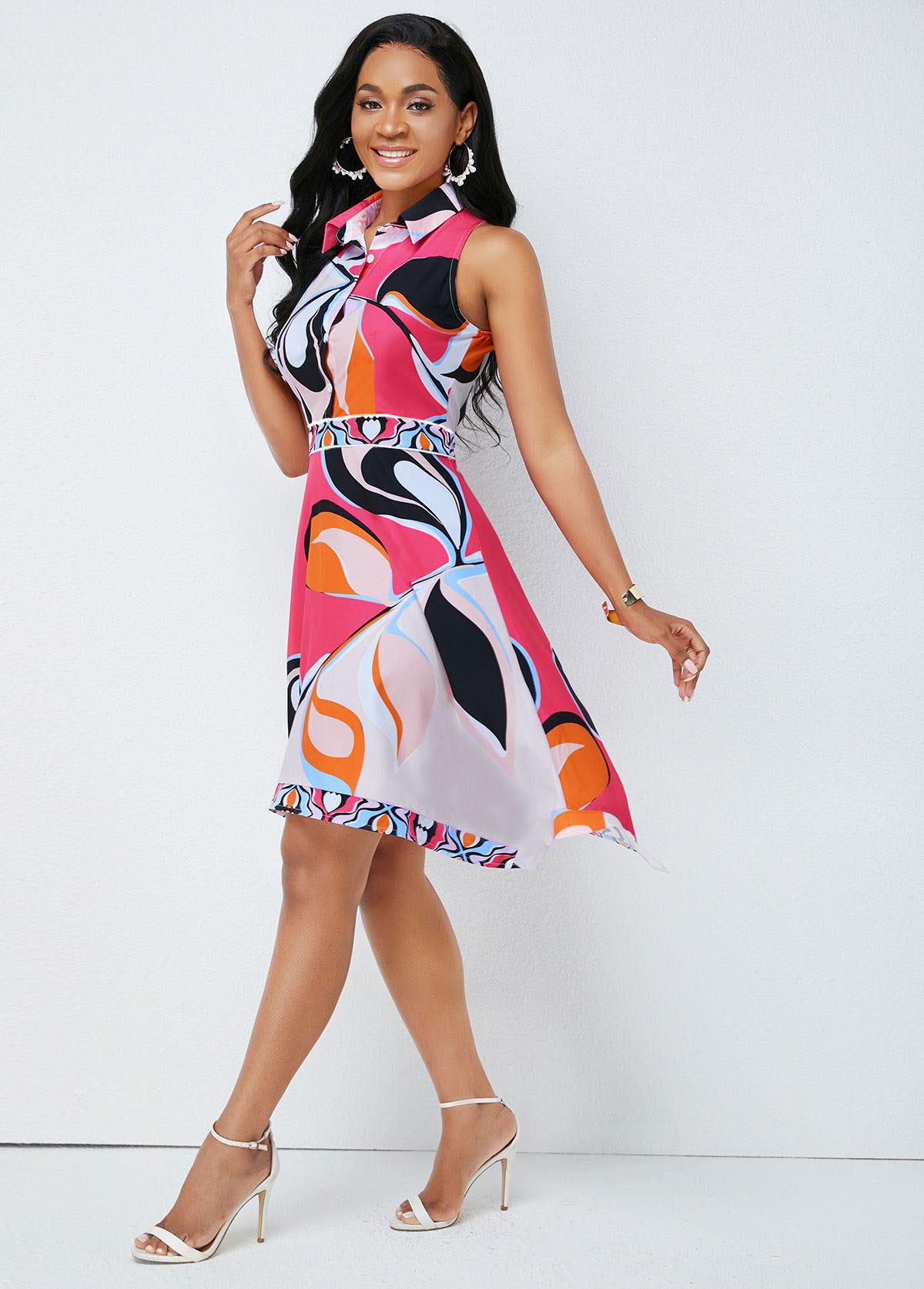 Printed Asymmetric Hem Turndown Collar Dress