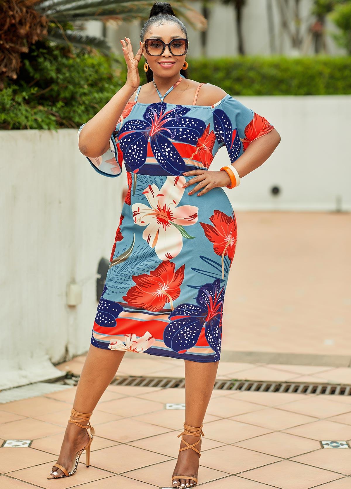 Floral Tie Back Plus Size Half Sleeve Dress