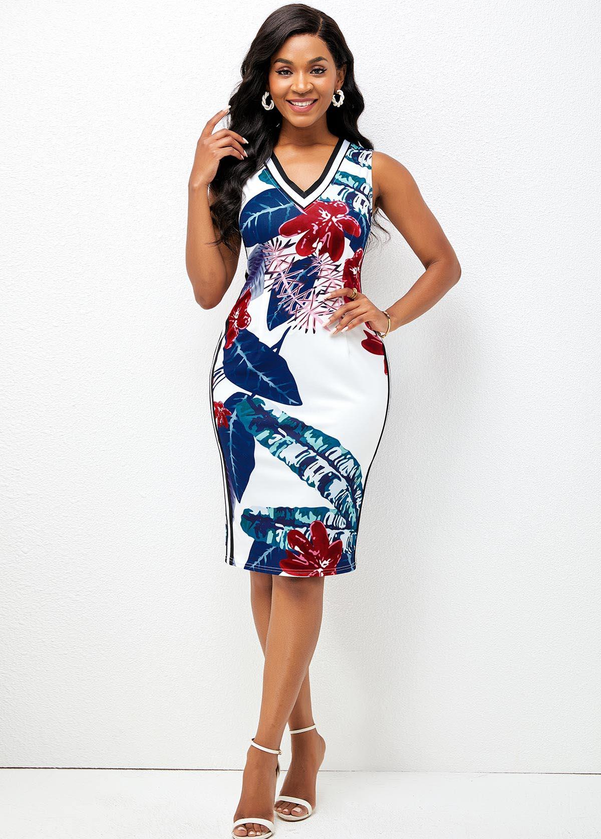 Sleeveless Plant Print V Neck Bodycon Dress