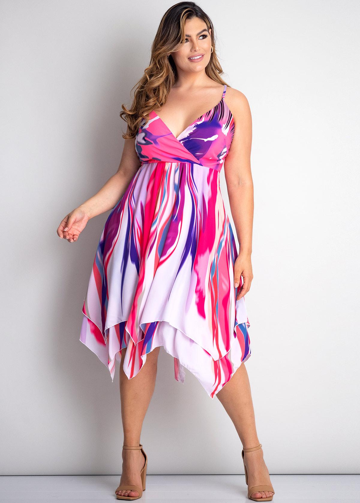 Asymmetric Hem Plus Size Tie Dye Print Dress