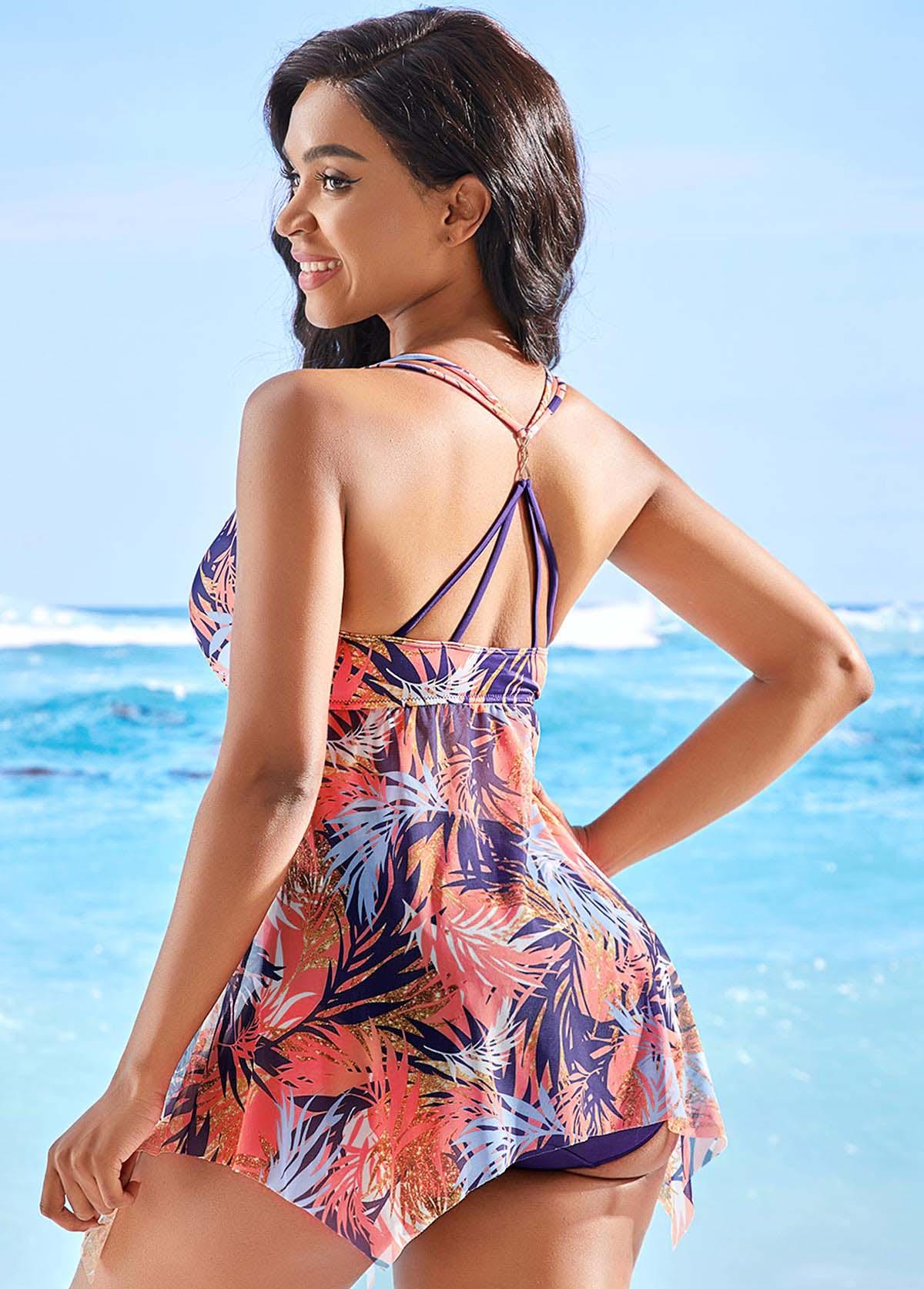 Tropical Print Asymmetric Hem Swimdress and Panty